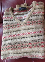 DANIEL CREMIEUX COLLECTION MEN'S LARGE SWEATER 100%WOOL V-NECK MULTI COL... - $119.90