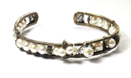 "Sterling Silver Silpada B2310 Pearls of Wisdom Hammered Cuff 12mm 7"" Wrist - $19.79"