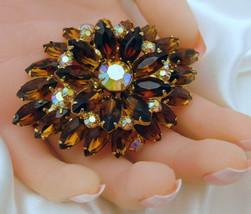 "Fabulous Layered D&E Juliana Topaz Rhinestone Tiered Vintage Brooch 2.75"" - $129.95"
