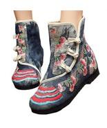 Vintage Peking Stoff Schuhe Bestickt Stiefel Grau 35 - $42.11