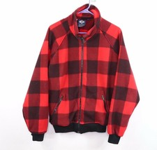 Vintage 80s Columbia Mens Large Full Zip Buffalo Plaid Fleece Jacket Red... - $39.51