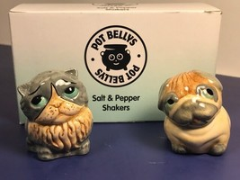 HARMONY KINGDOM SALT PEPPER SHAKERS POT BELLYS BELLIES DOG CAT PUPPY KIT... - $14.80
