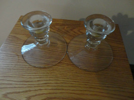 """CLEAR GLASS CANDLESTICKS CANDLE HOLDERS PAIR ESTATE SALE FIND 4"""" - $8.75"""