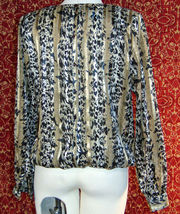 NICOLA Vintage 80s artsy animal polyester blouse 14 w/DEFECT (T42-02I8G) image 6