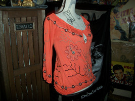 ARDEN B Sassy Orange Boho Embroidered Blouse Size XS - $12.87