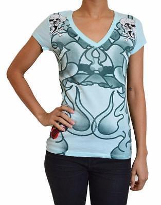 Ed Hardy Christian Audigier Women's Light Blue Green Two Skulls T-Shirt Size S