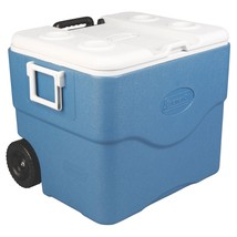 NEW! Picnic Camping Cooler Rolling Ice Chest Food Drink Outdoor Blue - $78.10