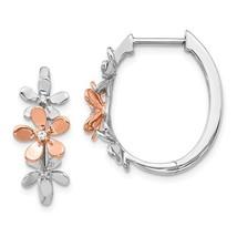14K Rose & White Gold Diamond Flower Earrings - $285.99