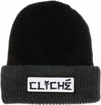 Cliche Mens Black/Grey Dressen Cuffed Fold Over Skateboarding Beanie Hat NEW