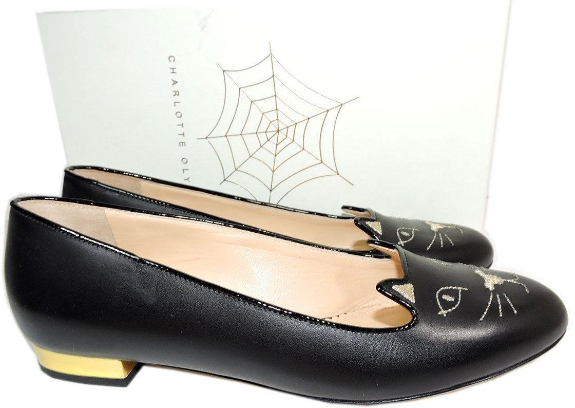 Charlotte Olympia Blck Leather Kitty Smoking Slipper Flats Shoe Ballets 40-9 Cat image 5