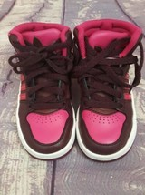 Adidas Girls Hightop Sneakers Sz 7K Ortholites Pink and Burgundy Basketb... - $14.24