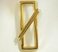 Vintage Monet Crossed Rectangle Gold Plated Brooch Pin Classic Abstract Estate - $12.38