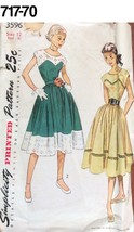 VTG Sewing Pattern Simplicity #3596 Size 12 Bust 30 Cute Dress 1951 - $20.88