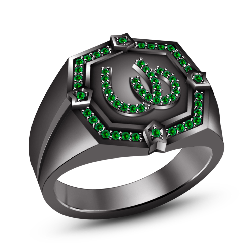Primary image for Black Gold Plated 925 Silver Round Cut Green Sapphire Men's SPL Horseshoe Ring