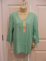 Nwt St. John's Bay Top Mint Tee Shirt V Neck 100% Cotton Xlarge - $22.76