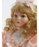 """Doll 16"""" Inch Porcelain Blond Curly Hair Lace on Peach Dress Blue Eyes  ... - $49.99"""