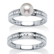 PalmBeach Jewelry Freshwater Pearl Bridal Set Platinum over .925 Sterling Silver - $37.74