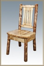 Amish Log Dining Room Chairs Lodge Cabin Furniture Solid Wood Kitchen Chair - €257,69 EUR