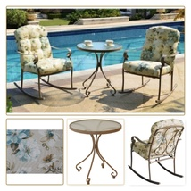 Outdoor Bistro Set 3 Piece 2 Rocker Chair Poolside Garden Yard Patio Fur... - $258.88