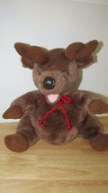 "Disney 14"" Plush reindeer pot round belly red cord neck tie - $9.89"
