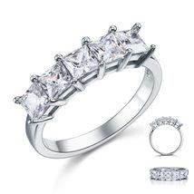 Princess Cut 5 Stone 1.25Ct Solid 925 Sterling Silver Bridal Wedding Ban... - $99.99