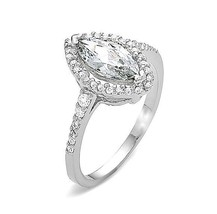 ZirconZ Sterling Silver Marquise CZ Halo Solitaire Engagement Ring 1.92 ... - $39.99