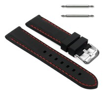 22mm Silicon Rubber Watch Strap Red Stitching Band Men or Women Silicone  - $15.99