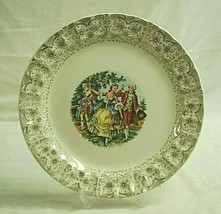 "Cronin China 10-1/4"" Dinner Plate Victorian People Ruffled 22K Gold Fili... - $19.79"