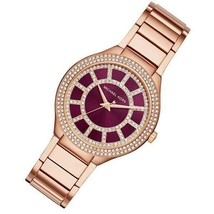 Michael Kors Kerry Burgundy dial Rose Gold Tone Stainless Steel Watch MK3434 - £69.26 GBP