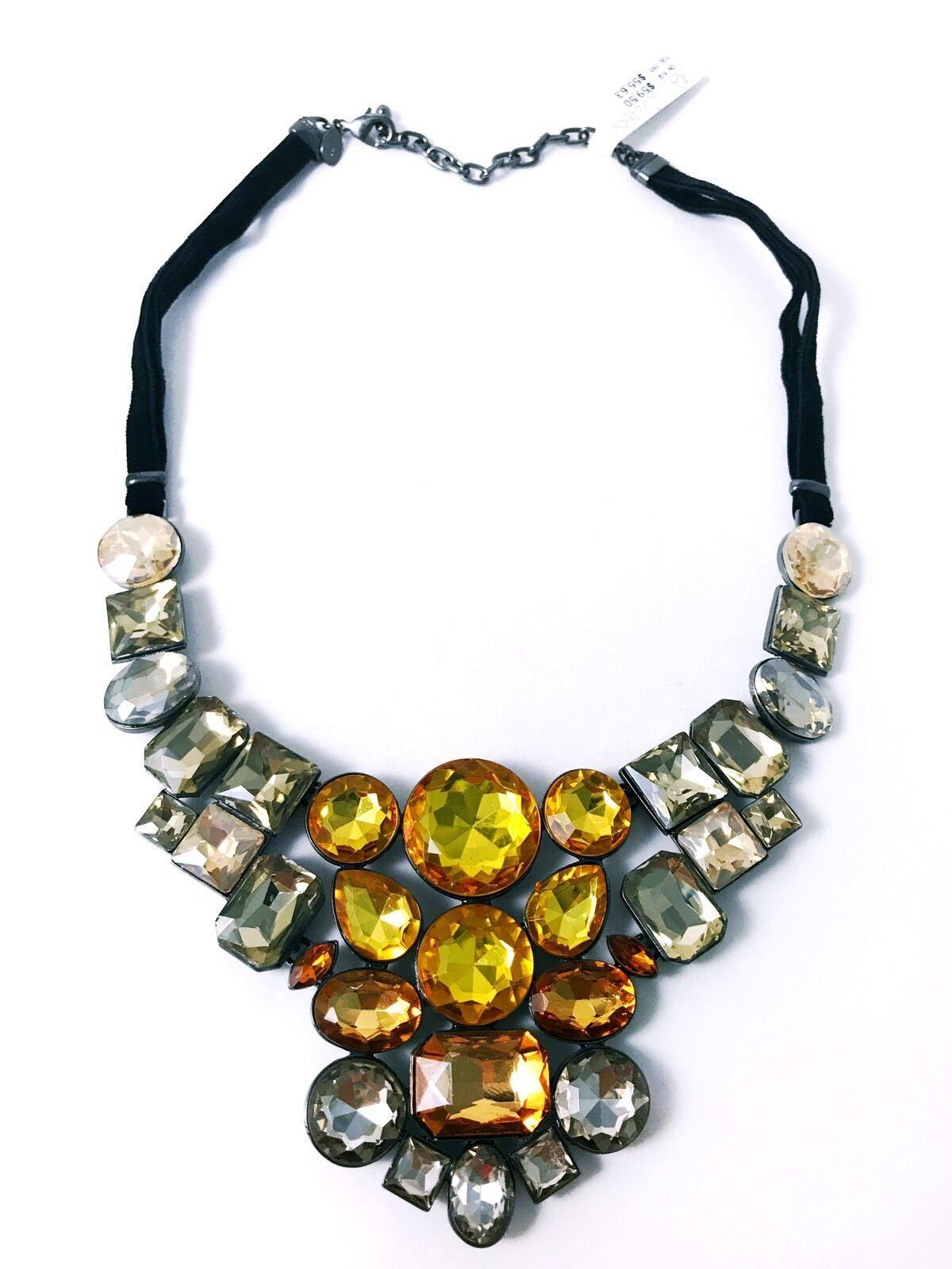 "Joan Rivers Yellow Crystal Mosaic 18"" Bib Necklace w/3"" Extender NEW Jewelry - $39.99"