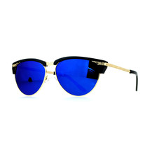 Womens Oval Cateye Sunglasses Plastic Top Metal Rims Color Mirror Lens - $9.95