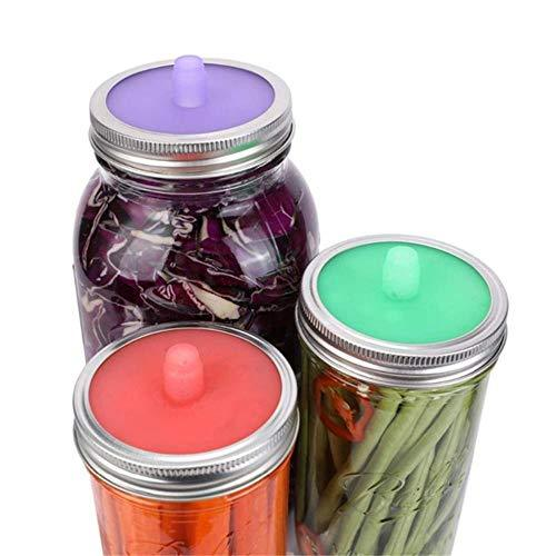 Primary image for 3Pcs Food Keeping Fresh Cover Glass Jar Silicone Sealed Lid and Steel ringsHouse