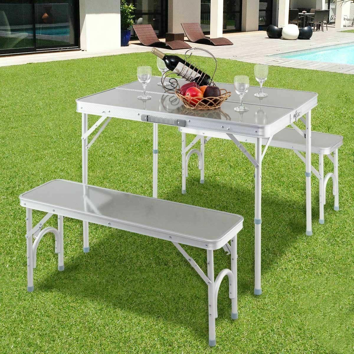 Durable Aluminum Portable Folding Picnic Table w/2 Benches - Outdoor Rec.
