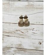 Vintage Clip On Earrings Silver Tone Diagonal Line Hoops - $10.99