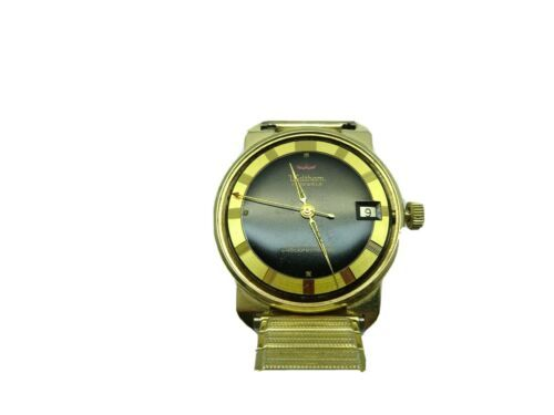 WALTHAM SOLID 14KT GOLD BLACK DIAL AUTOMATIC DATE WATCH RUNS TO RESTORE STEM - $938.57