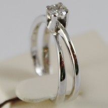 18K WHITE GOLD SOLITAIRE WEDDING BAND DOUBLE RING DIAMOND 0.35 MADE IN ITALY image 2