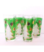 Christmas Tumblers Set of 4 Glasses Green & Gold With Trees Made In Italy - $22.99