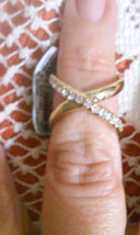 NEW Guess Yellow Gold Tone Sparkling Crystal Infinity Double Ring Size 7 8 - $5.70