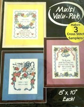 "BUCILLA 3 Love Samplers Stamped Fabric Only Cross Stitch Multi Pack  8"" ... - $12.71"
