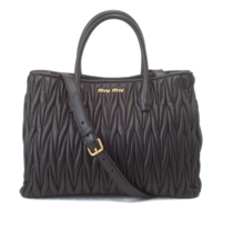New AUTH Miu Miu Matelasse Black Leather Tote Shopper Bag $2,985 - ₨83,032.08 INR