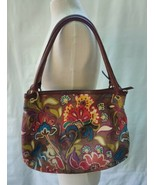 """RELIC by Fossil Brown Floral Leather Fabric Handbag 14"""" W x 12"""" H - $24.75"""
