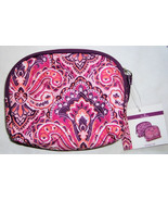 Modella Cosmetic Travel Bag Quilted Round Top Zipper Pink Purple Design ... - $9.99