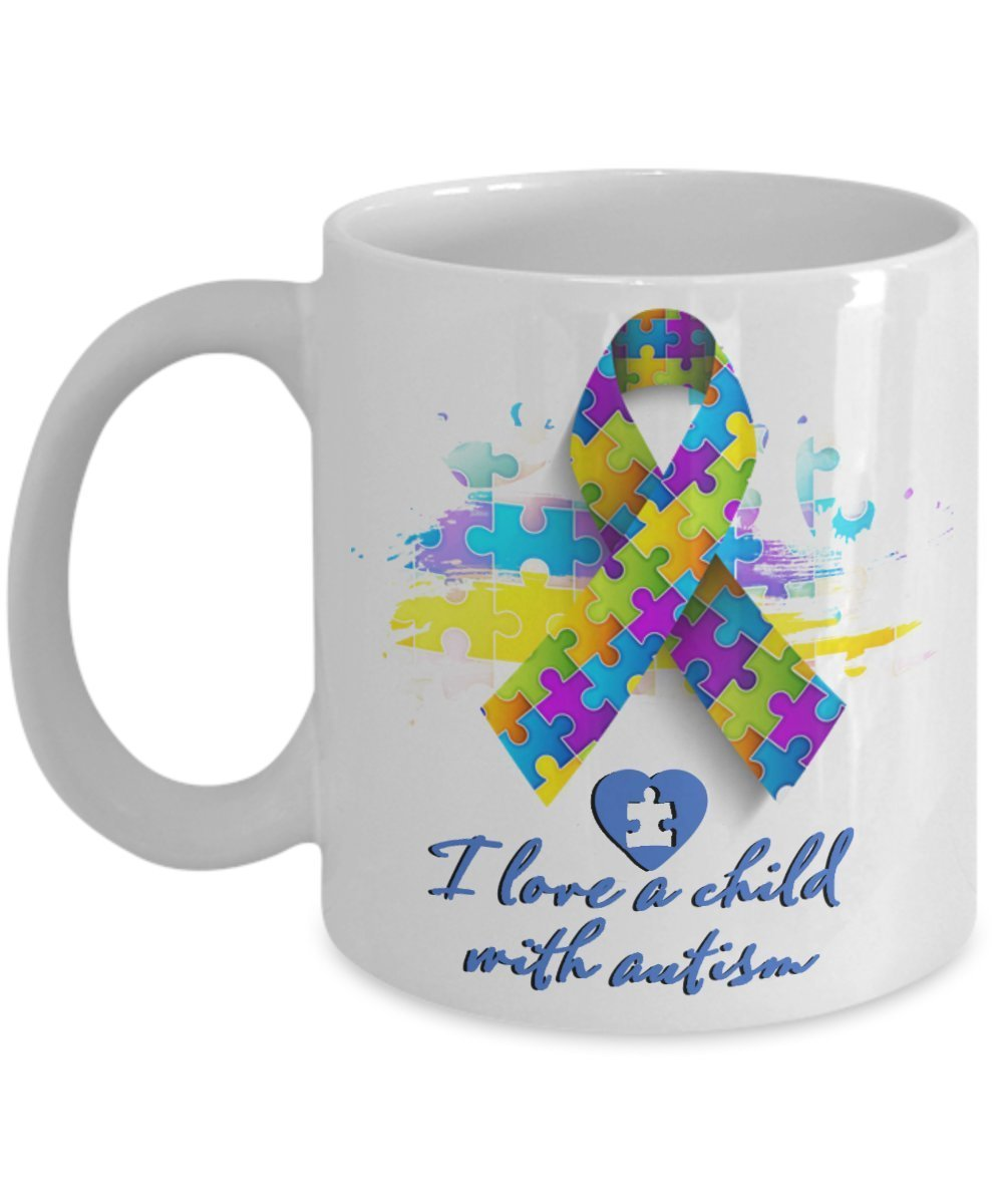 Primary image for I Love A Child With Autism. 11 oz White Ceramic Coffee Mug