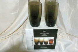 Noble Excellence Sparkle And Shine Set Of 4 Smoke Crackle Glass Beverage... - $27.71