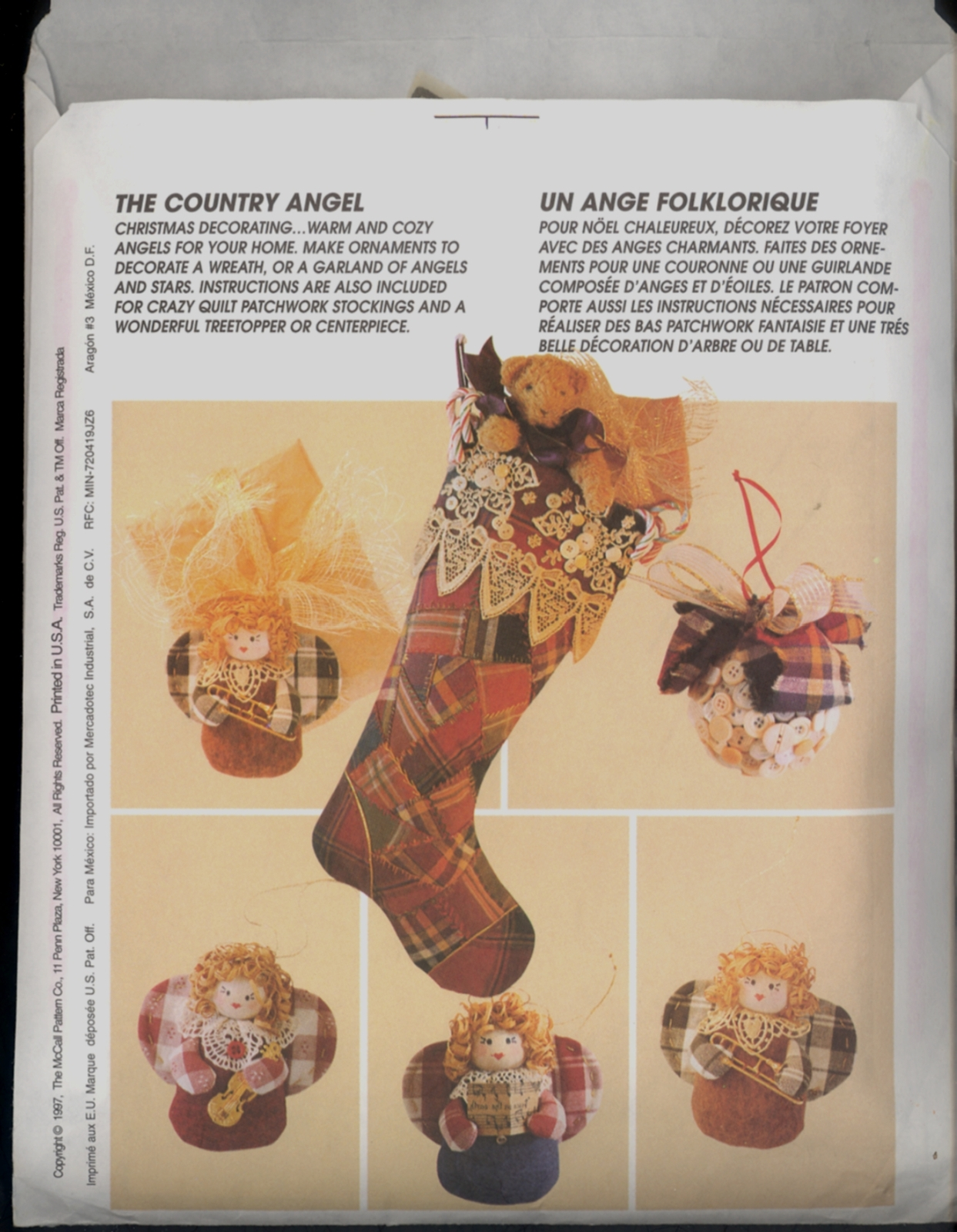 Country Angel Christmas Wreath Stocking McCalls 8892 Garland Ornament Pattern