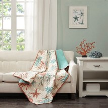 "Luxury Coral & Teal Beach Starfish Oversized Quilted Throw - 50"" x 70"" - $1.056,77 MXN"