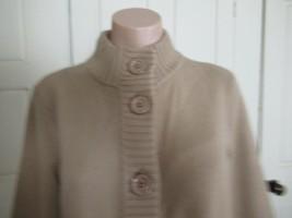 Talbots sweater cardigan mock  S camel brown Merino wool cashmere cotton... - $22.49