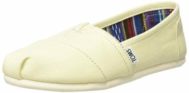 NEW TOMS Women's Classic Solid Natural Lt Beige Canvas Slip On Flats Shoes Box image 2