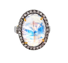 14k Gold Diamond Studded Moonstone Ring Sterling Silver Gemstone Vintage Jewelry - $383.35