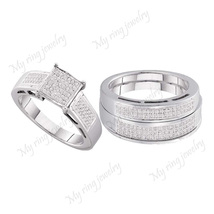 Trio Ring Sets Diamond Wedding Ring Set Sterling Silver 14k White Gold P... - $178.68